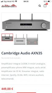 Cambridge Audio AXN35 Amplificator Stereo STREAMER Audiophil NOU! cu WiFi Bluetooth DAC