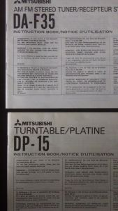 Mitsubishi DA-F35 & DP-15 instruction books