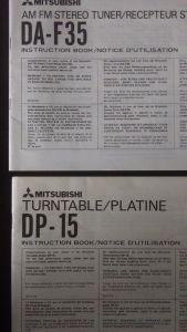 Mitsubishi DA-F35 & DP-15 instruction books